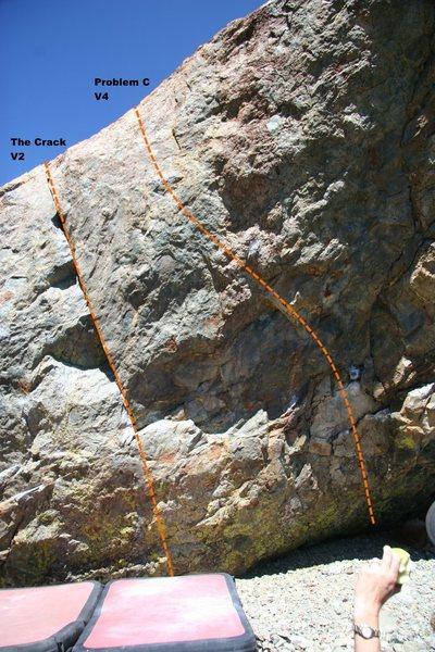 The Only Boulder South Face (center) topo.