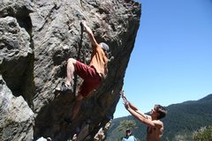 Rock Climbing Photo: Moving through the crux on Problem C, V4