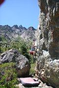 Rock Climbing Photo: Todd coasting on Problem B