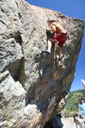 Rock Climbing Photo: Moving through to the top on Problem C, V4