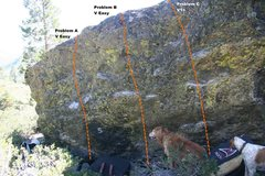 Rock Climbing Photo: Warm Up Boulder Left Topo
