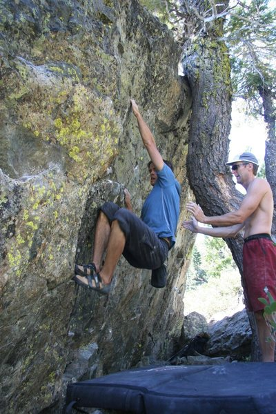 Rock Climbing Photo: Tucker gets the good slot on Problem E, V3
