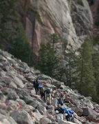 Rock Climbing Photo: Tilt-shift of the approach to Rincon.