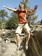 Rock Climbing Photo: Me jumping off a boulder at Joe's Valley.