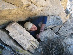 Rock Climbing Photo: Born again on the last move of the Red Dihedral, h...