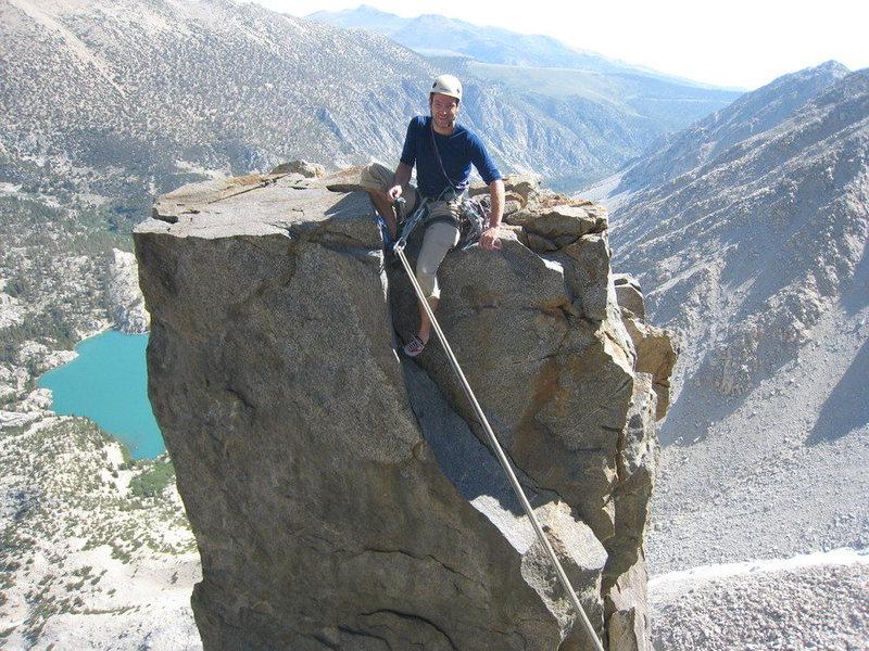Before the tyrolean on Sun Ribbon Arete, high Sierras.