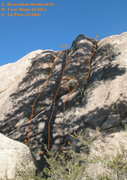 Rock Climbing Photo: Photo topo for Lost Orbit Rock (West Face, right s...
