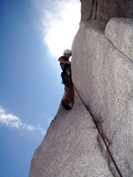 Rock Climbing Photo: Just below the summit on Cathedral peak
