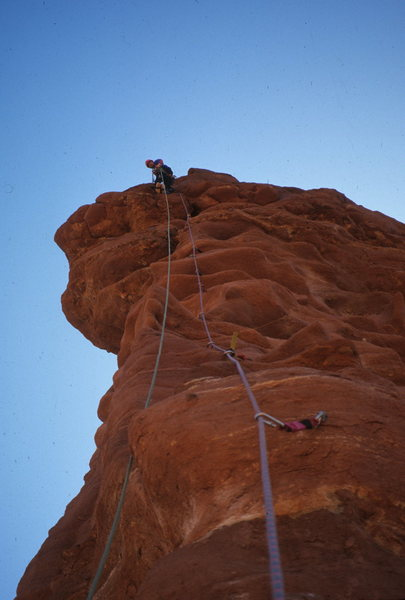 Rock Climbing Photo: Near the top on Finger of Fate