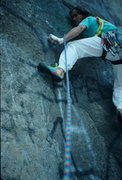 Rock Climbing Photo: Crankin' the crux of CCC years ago when the graffi...