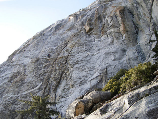 South Face, climbers are at P1 belay of Left Ski Track