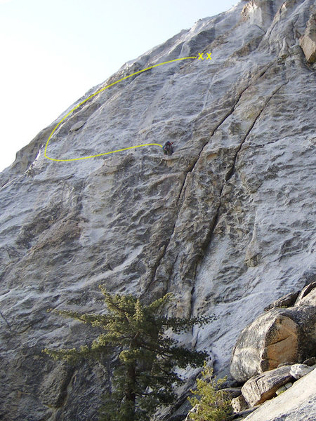 Sling Swing Traverse, from the Left Ski Track anchors