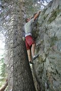 Rock Climbing Photo: Todd toping out on Oral Surgeon, V2