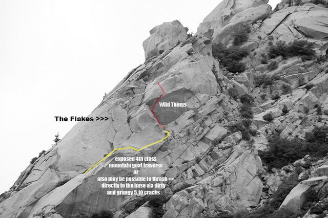Rock Climbing Photo: beta photo showing the location of Wild Things.