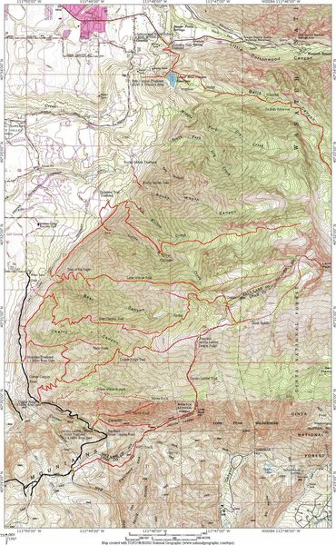 Topo Map of Lone Peak
