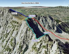 Rock Climbing Photo: Google Earth of back side of Big Willow Cirque - R...