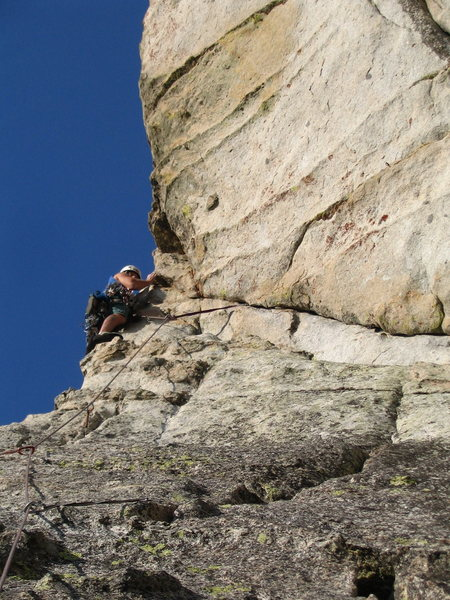 "Rock Climbing Photo: The awesome ""Airy traverse"" on pitch 3"