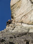 """Rock Climbing Photo: The awesome """"Airy traverse"""" on pitch 3"""