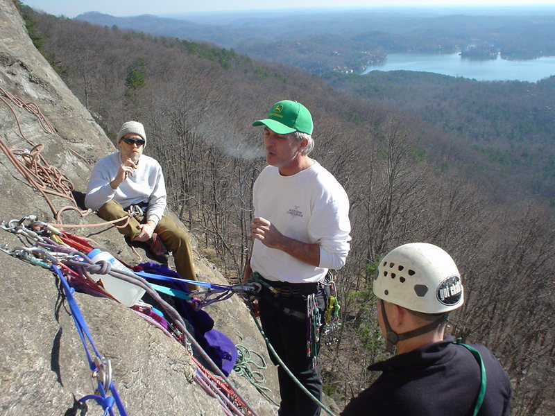 pow-wow at the belay, scenic Lake Lure in the background