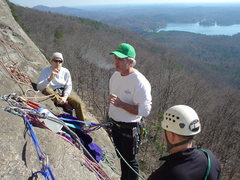 Rock Climbing Photo: pow-wow at the belay, scenic Lake Lure in the back...