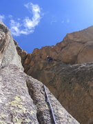 Rock Climbing Photo: Trevor tenuously wading through sketchy rock on th...