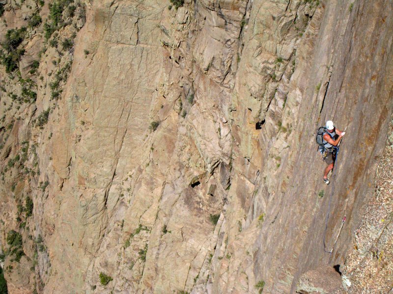 Rock Climbing Photo: Traversing right on the slabby, unprotected face m...