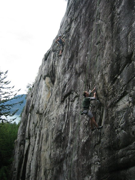 Rock Climbing Photo: The guy on the left is near the top of Burning Dow...
