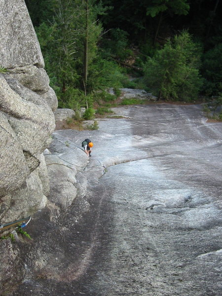 Brad just past the crux on P2 of Freeway.