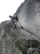 Rock Climbing Photo: Brad starting up Supervalue.  The rope ended up sn...