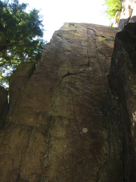 The main wall at The Pillar of Payan.  The bolt line on the left is Cliptomaniac and the crack system on the right is Just Blessed.  Two other routes are out of sight on the right.