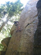 Rock Climbing Photo: Brad working out the moves on Cliptomaniac.  The r...