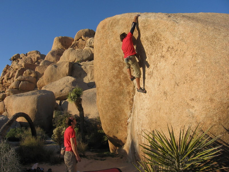 Rock Climbing Photo: Toping out.  Mister King giving me the spot.
