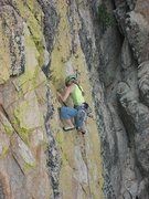 Rock Climbing Photo: Cool slab route-- Pic by Chelsea