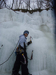Rock Climbing Photo: My very first ice lead.  The ice was super plastic...