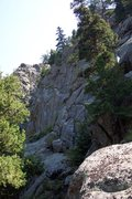 Rock Climbing Photo: View of the main wall from the top of the approach...