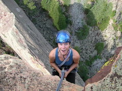 Rock Climbing Photo: BJ at the beginning of the rappel!