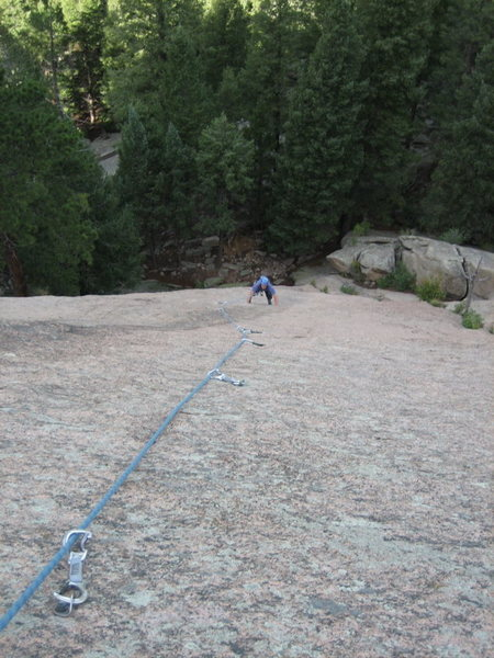Rock Climbing Photo: Brent following BJ up the first pitch of Two Jews ...