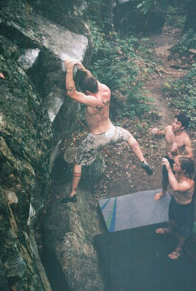 Rock Climbing Photo: Dobbe working the route in humid conditions