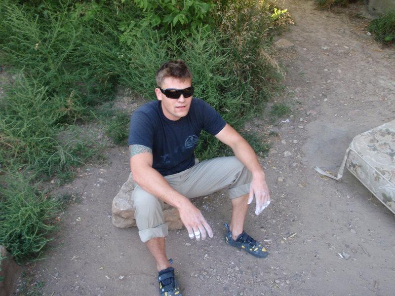 Hanging out at the Vegan boulder
