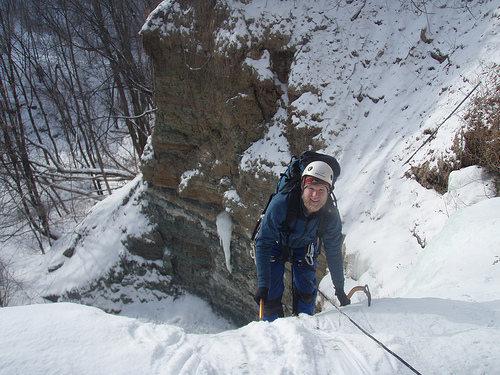 Ian finishing the tiered waterfall.