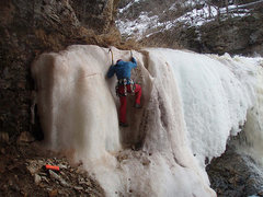 Rock Climbing Photo: Late Season Ice Bouldering.  Harness is for the sp...