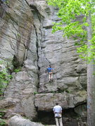 Rock Climbing Photo: The climber is a few feet to the right of the Tarz...