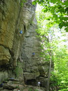 Rock Climbing Photo: I believe this climber is on the 5.9 to the right ...