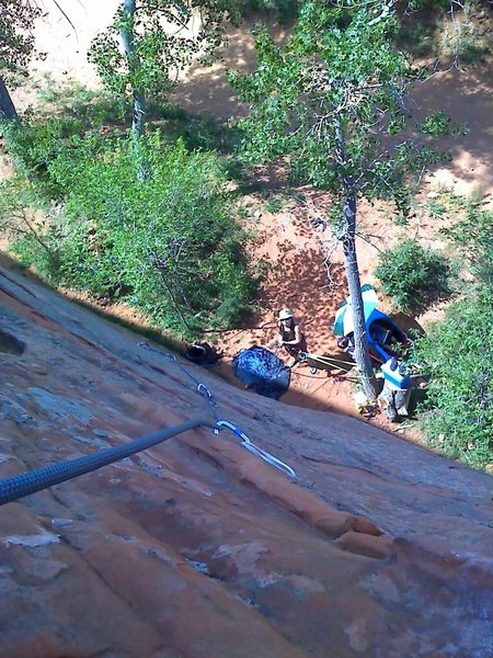Rock Climbing Photo: Looking down from rest on Current Event.