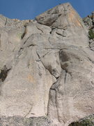 Rock Climbing Photo: Looking up the route from the base, with the first...