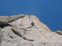 Rock Climbing Photo: Trevor hooking up to the splitter crack.