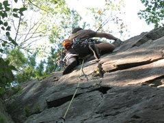 Rock Climbing Photo: Pulling through the last few moves.