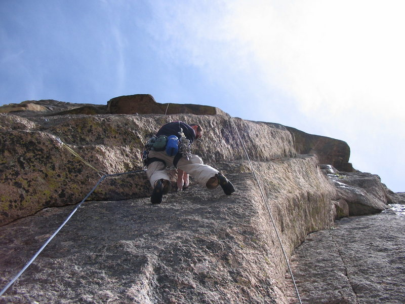 Rock Climbing Photo: The very cool crux corner pitch.  In of itself a w...