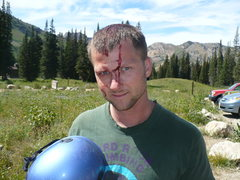 Rock Climbing Photo: Always wear a helmet.  I had it with me but chose ...