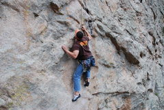 Rock Climbing Photo: Coming thru the Crux of One Thin Line.